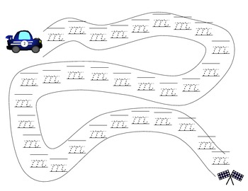 Race Car Handwriting Practice Game - D'Nealian