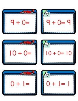 Race Car Math Flash Cards