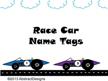 Race Car Name Tags