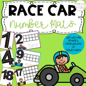 Race Car Playdough Number Mats