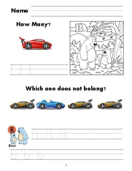 Race Car Preschool Workbook NO PREP