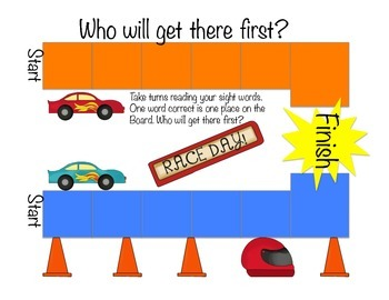 Race Car Primary Boys Sight Word Flash cards and Sight Word Games