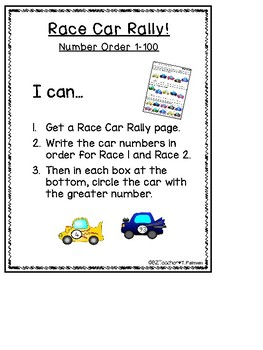 Race Car Rally! - Number order to any number - EDITABLE