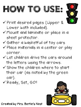 Race Car Reading - Alphabet Letters