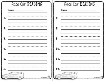 Dollar Deals Car Literacy Centers Kindergarten | Literacy Centers First Grade