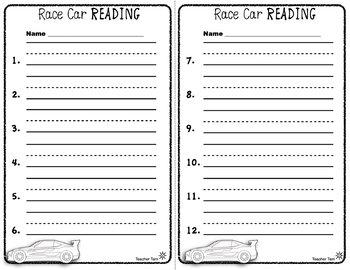 DOLLAR DEAL Car Literacy Centers Kindergarten | Literacy Centers First Grade
