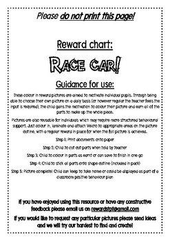 Race Car Reward Chart