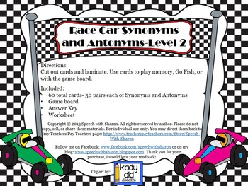 Race Car Synonyms and Antonyms Level 2