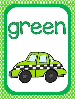 Race Car Theme Color Identification Posters