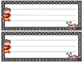 Race Car Theme Desk Name Plates