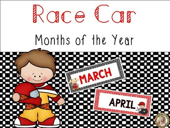 Race Car Theme Months of the Year Signs