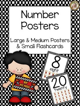 Race Car Theme Number Posters 0-20 - Large & Medium Posters & Small Flashcards