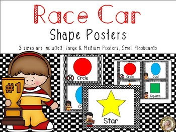Race Car Theme Shape Identification Posters