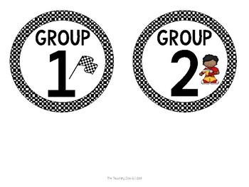 Race Car Theme Table Numbers