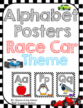Race Car Themed Alphabet Poster
