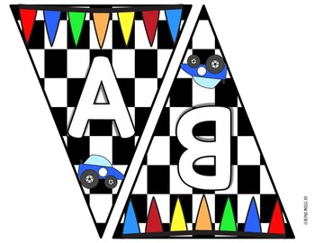 Race Car Themed Pennant Banner