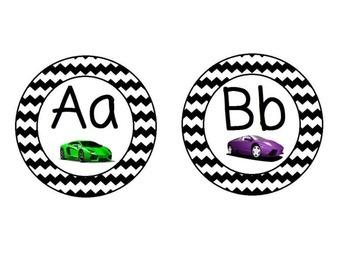 Race Car Themed Word Wall Alphabet with Black Chevron: