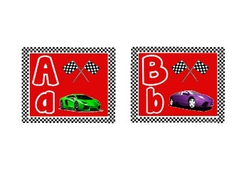 Race Car Themed Word Wall Alphabet (with Red Background):