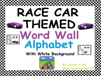 Race Car Themed Word Wall Alphabet (with White Background):