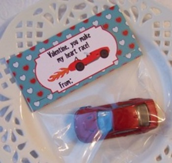 Race Car Valentine Large Treat Bag Toppers