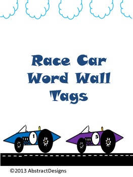 Race Car Word Wall Tags