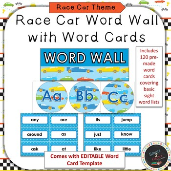 Race Car Word Wall and Word Cards Set