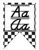 Race Car themed D'Nealian print and cursive Alphabet banner