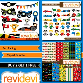 Race Cars Clip art (3 packs) boys, girls