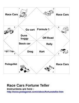 Race Cars Fortune Teller