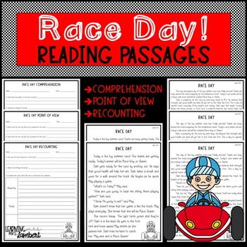 Race Day Differentiated Reading Passage w/ Comprehension, Recounting, & POV