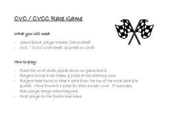 FREEBIE - Race Game CVC / CVCC