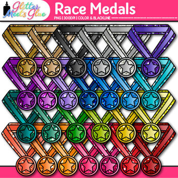 Rainbow Race Medals Clip Art {End of Year Team Sports Awards for Certificates}