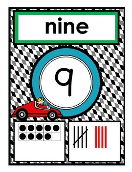 Race Theme - Number Posters and Number Chart {0-20}