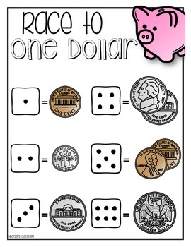 Race To One Dollar - Math Money Simple Center
