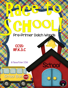 Race To School Boardgame Pre-Primer Dolch Words Common Core RF.K.3 RF.1.3