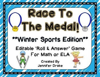 Race To The Medal!  Winter Sports 'Roll & Read' EDITABLE Game!  Color & B&W
