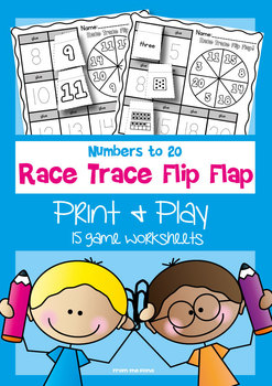 Numbers to 20 - Race Trace Flip Flap Worksheets - Print and Play