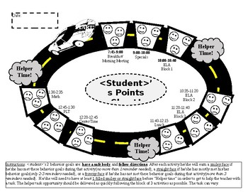 Race Track Daily Behavior Points Sheet (with 3 earning periods)