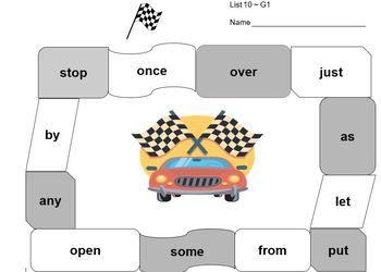 Race Track Sight Words K-2nd