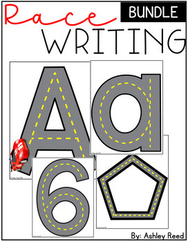 Race Writing Bundle (Letters, Numbers, and Shapes)