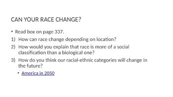Race and Ethnicity PowerPoint, Guided Notes, and Completed Notes