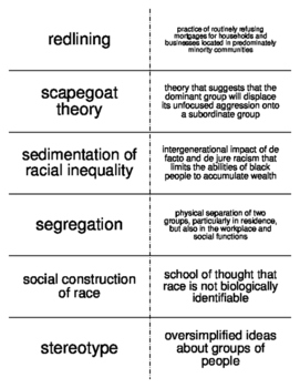 Race and Ethnicity Vocabulary Flash Cards for Sociology