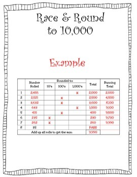 Race and Round: Rounding to 10's, 100's, and 1,000's (New Math TEKS 4.4G)