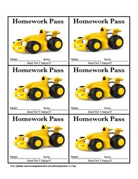 Race car Homework Passes