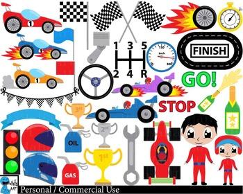 Race car v1 - Clip Art Digital Files Personal Commercial U