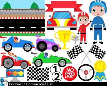 Race car v2 - Clip Art Digital Files Personal Commercial U