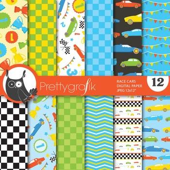 Race cars racing digital paper, commercial use, scrapbook papers - PS646