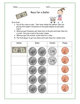 Race to a Dollar Small Group or Math Station Game