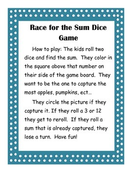 Race for the Sum Holiday pack Dice game