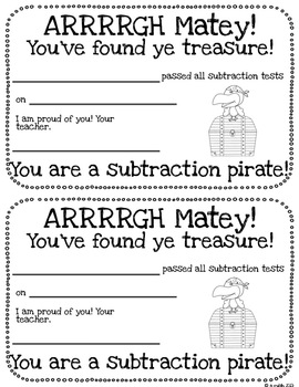 Race for ye treasure-Pirate themed subtraction fluency practice